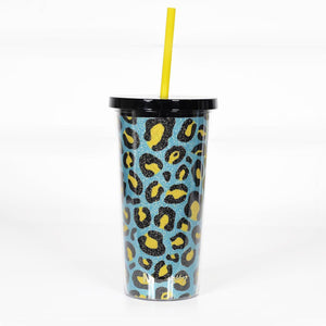 Teal & Yellow Leopard Glitter Tumbler with Straw