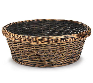 "14"" Light Stain Round Willow Basket"