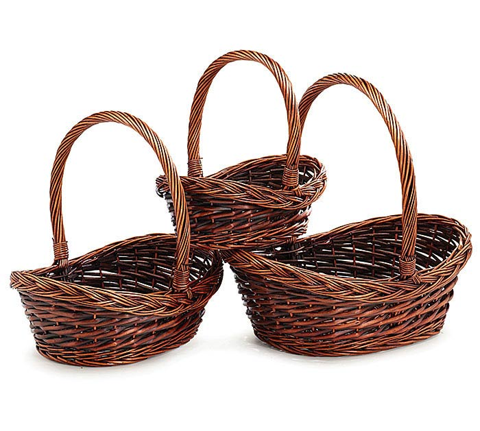 Willow Dark Stained Basket with Overhead Handle
