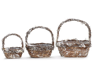 Birch Bark Nested Basket L