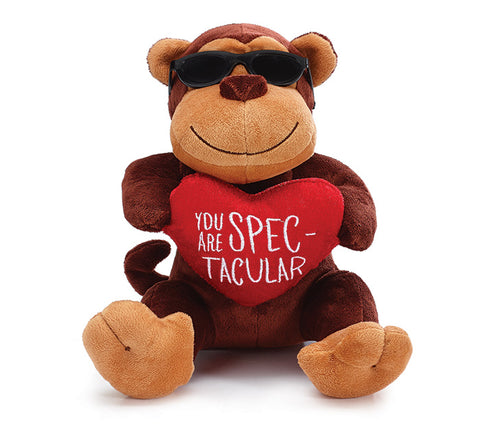 Plush Valentine Monkey with Sunglasses