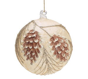 "4"" Linen / Pinecone Glass Ornament"