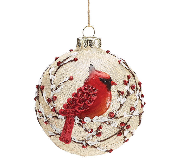 "4"" Round Glass Red Cardinal Ornament"