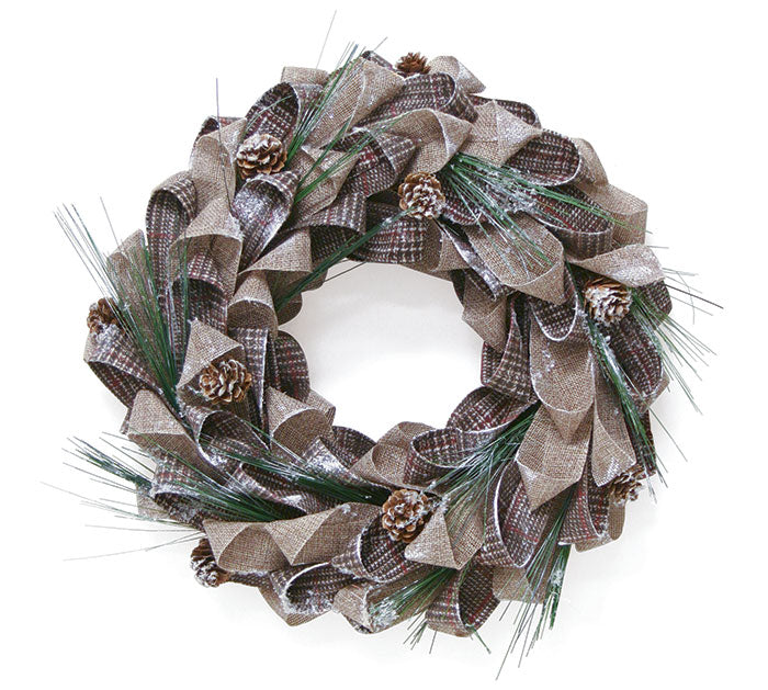 "Brown Beige Plaid 65"" Wreath"