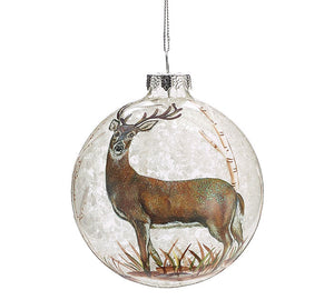 Deer in Woods Glass Ornament