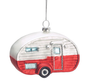 Glass Vintage Camper Ornament