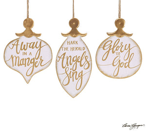 White and Gold Christmas Messages Ornament