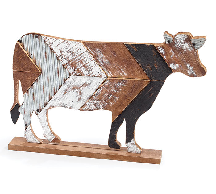 Wood Slat Decor Cow