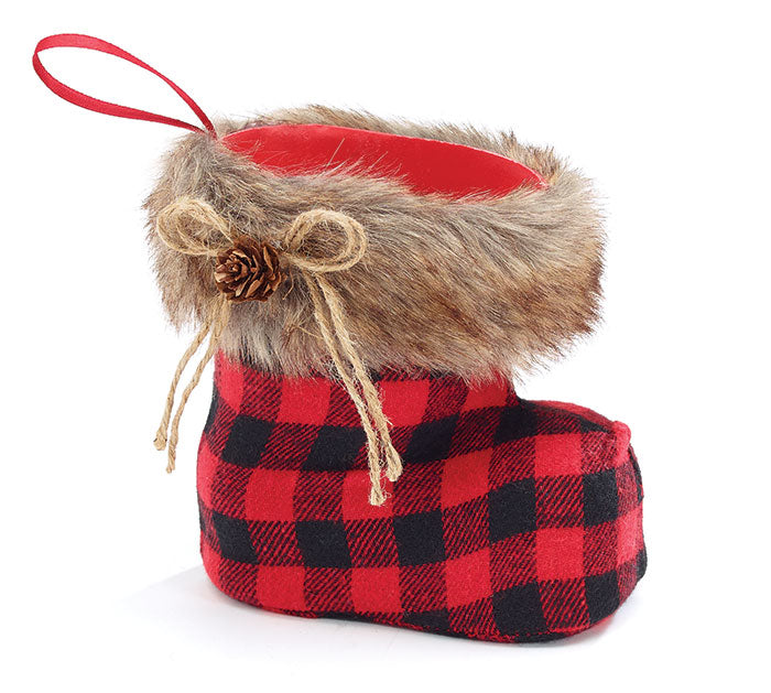 "8"" Buffalo Plaid Boot Vase"