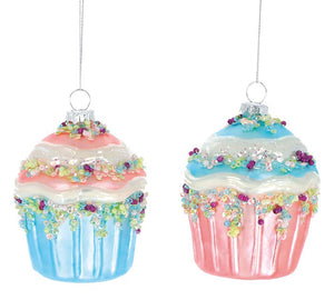 Glass Cupcake Ornament