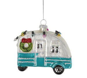 Glass Christmas Camper Ornament