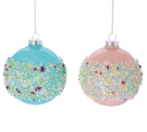 Pink or Blue Glass Ornament