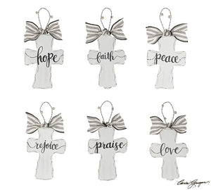White Distressed Cross Farmhouse Ornament