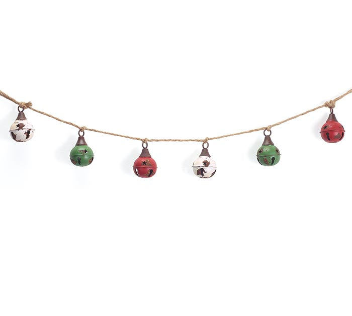 Distressed Bells Garland with Rope