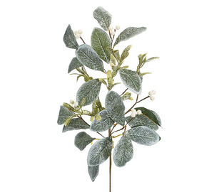 Frosted Mistletoe Leaves Pick