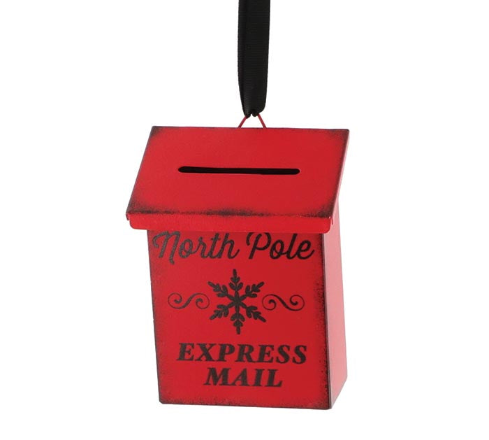 Red North Pole Mailbox Ornament