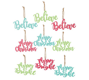 Bright Color Tin Word Ornaments