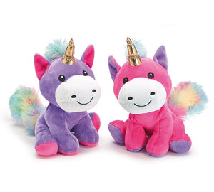 Plush Rainbow Unicorn with Gold Horn
