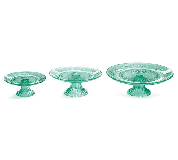 Mint Green Glass Cake Pedestal in 3 Sizes