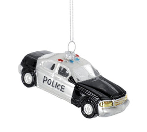 Pressed Glass Police Car Ornament