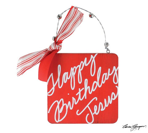 Happy Birthday Jesus Red Ornament