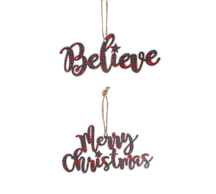 Merry Christmas / Believe Plaid Ornament