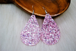 Baby's Breathe Pink Flake Earrings