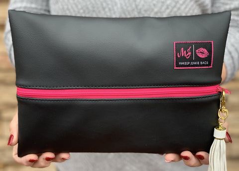 Makeup Junkie Bag || Black Out (Hot Pink Zipper)