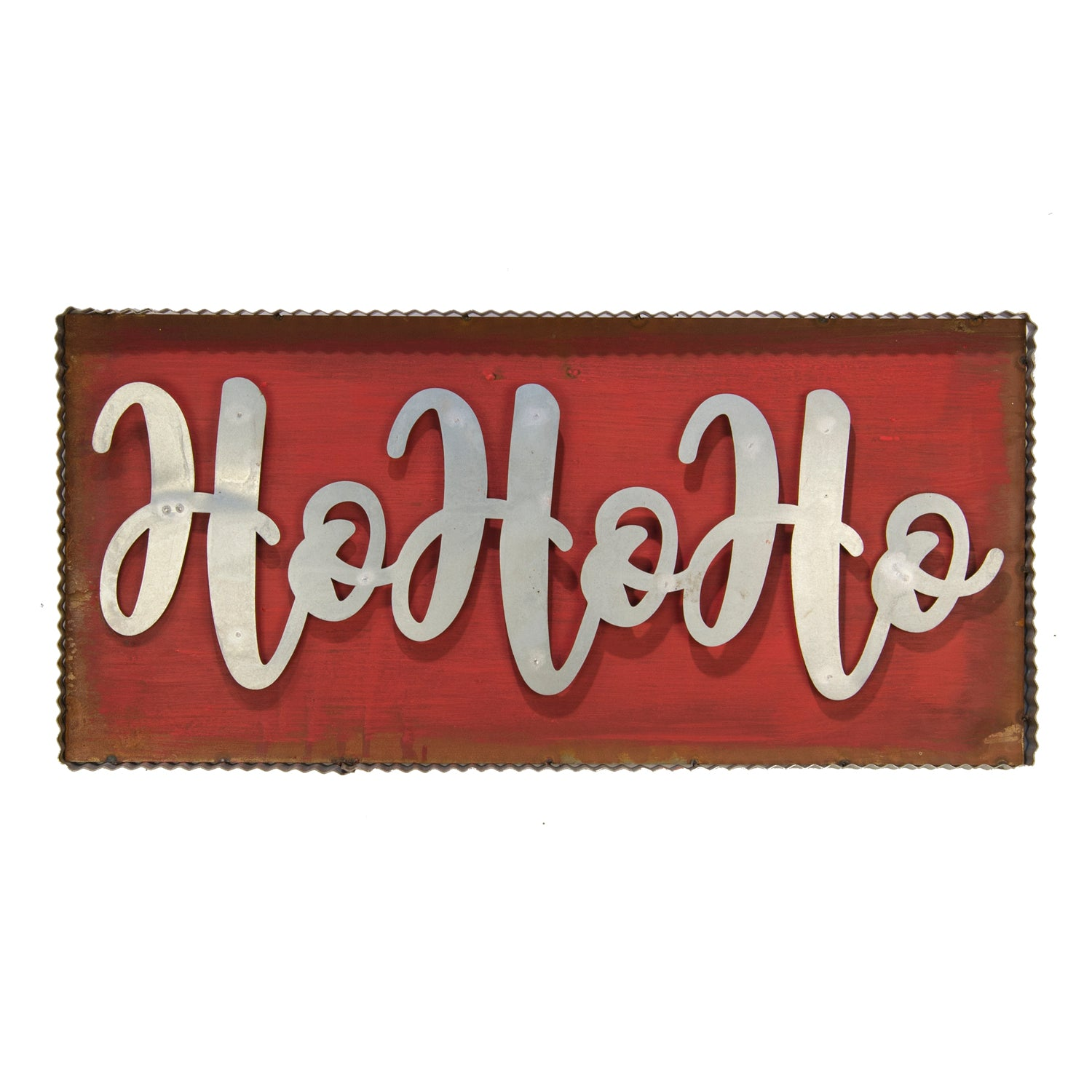 "Galvanized/Rust Red ""HOHOHO"" Lg"