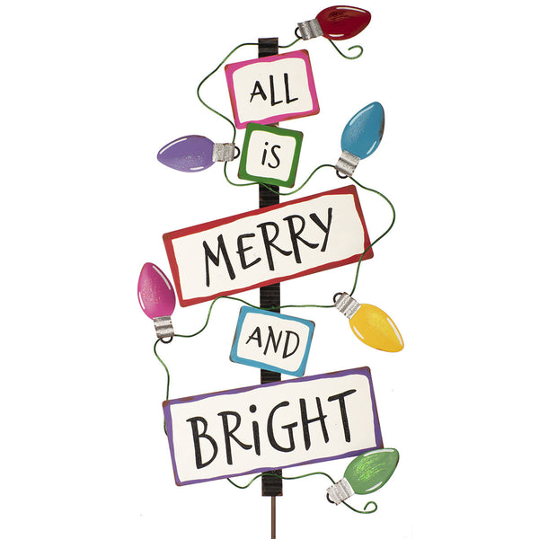 """All is Merry & Bright"" Bulb Sign"