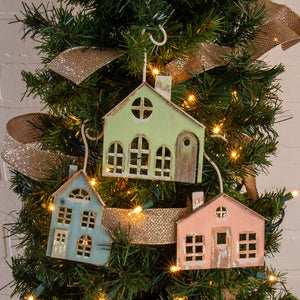 Pastel Christmas Village Ornaments
