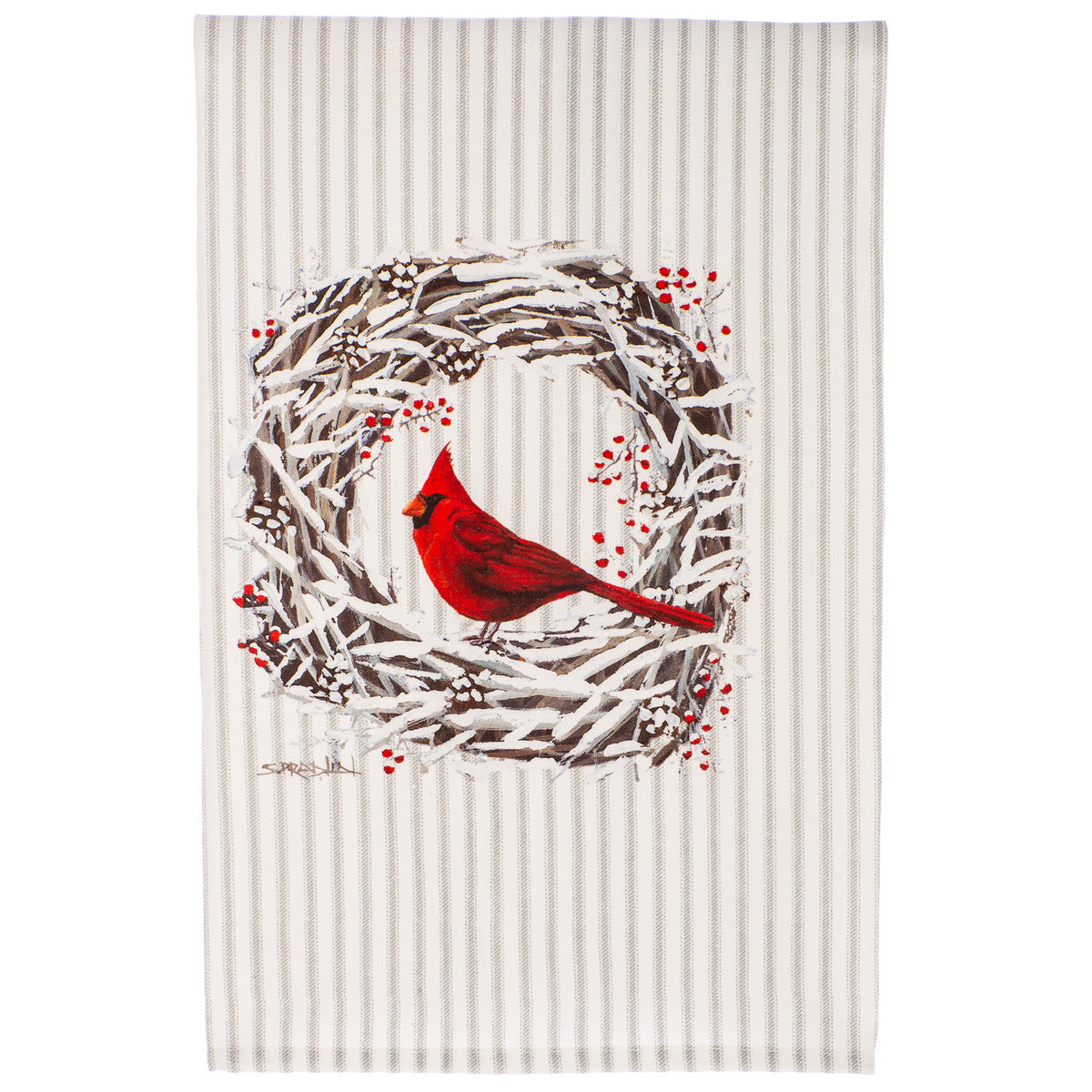 Cardinal Snowy Wreath Tea Towel