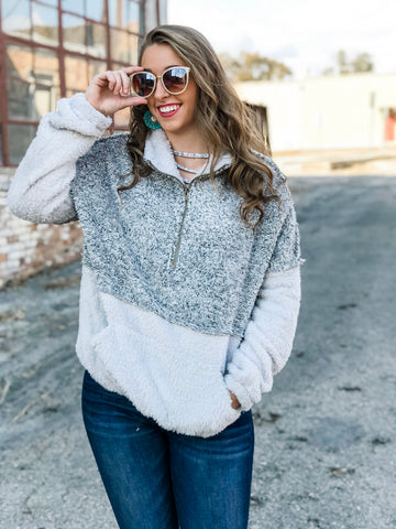 Gray and White Sherpa Pullover