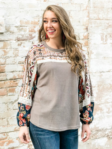 The Harlee Multi-Print Latte Top