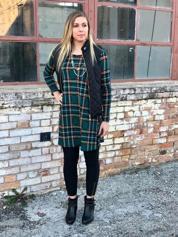 Holiday Plaid Dress in Green