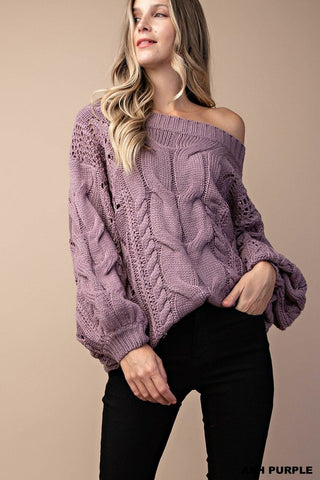 The Blakely Cable Sweater in Ash Purple
