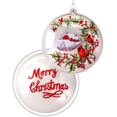 Country Cardinals Glass Disc Ornament
