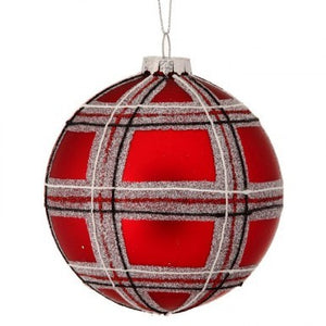 Glass Plaid Ball Ornament