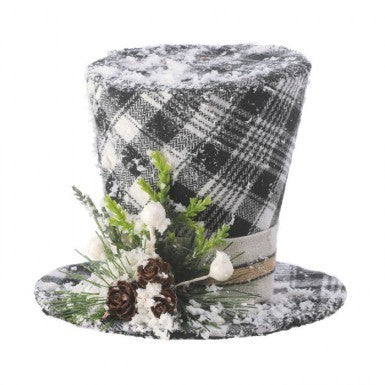 Country Check Top Hat Ornament