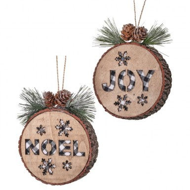 Joy/Noel Checkered Wood Disc Ornament