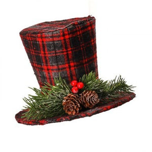 Plaid Snowman Hat Ornament