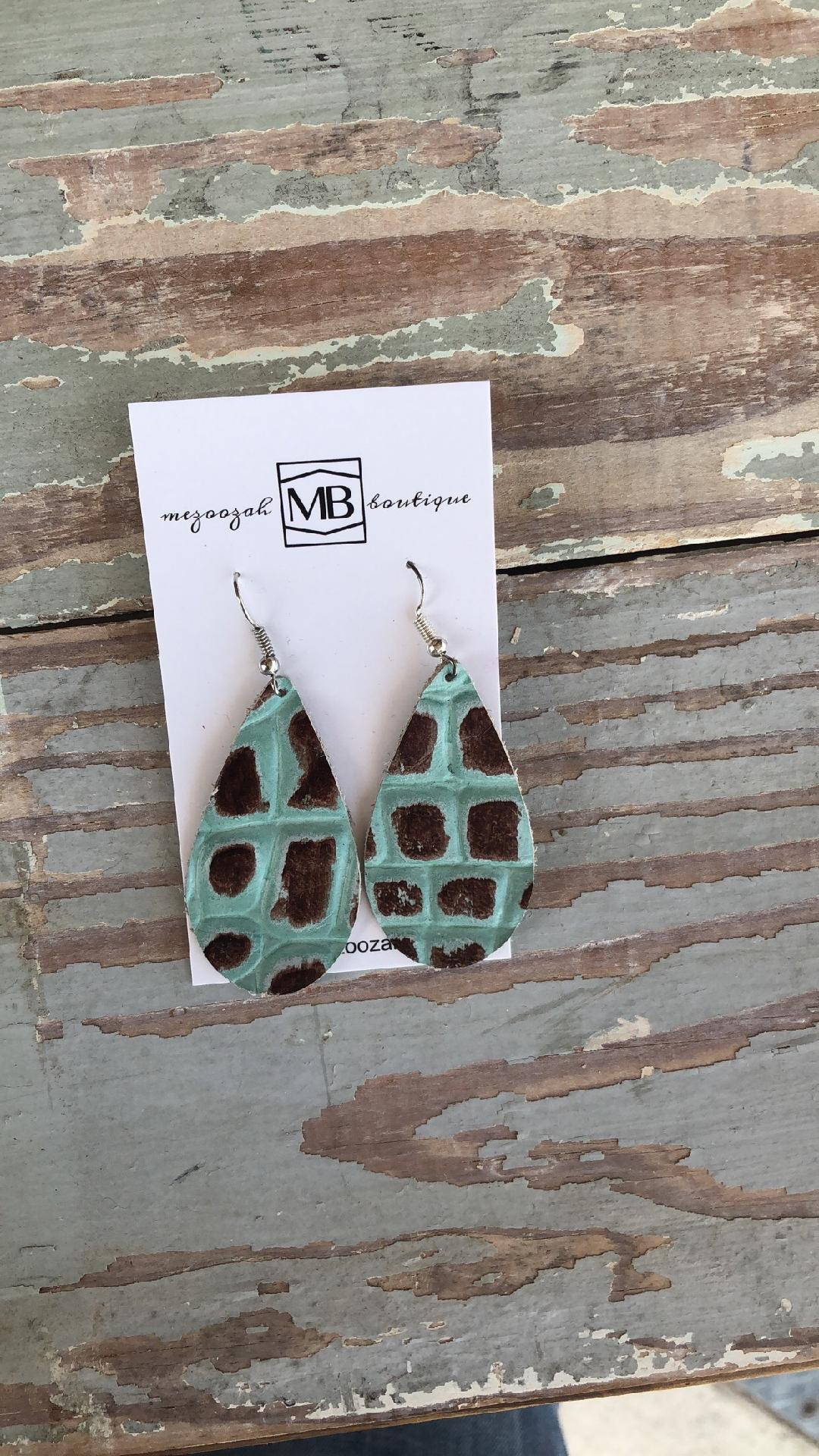 Mint Chocolate Chip Croc Earrings