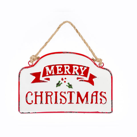 Merry Christmas Metal Ornament Sign