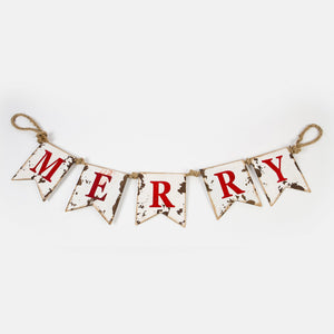 Merry Antique White Hanging Banner