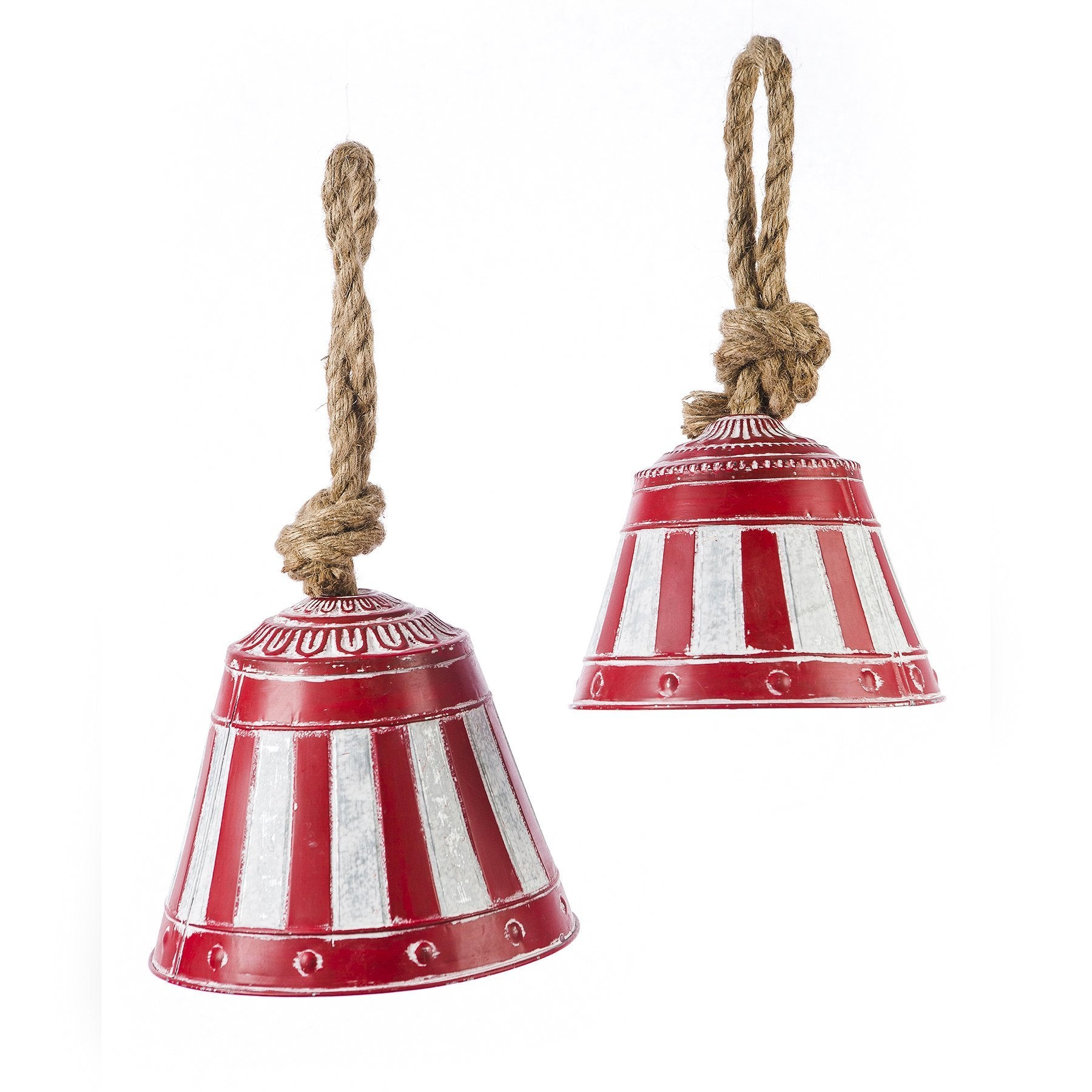 Red & White/Gray Metal Bells with Rope Handles