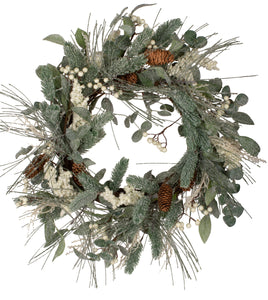Flocked Mixed Green and Berry Wreath