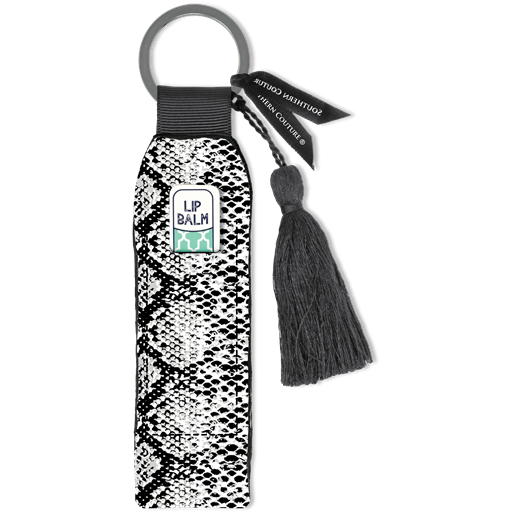 Black Snakeskin Lip Balm Holder Keychain