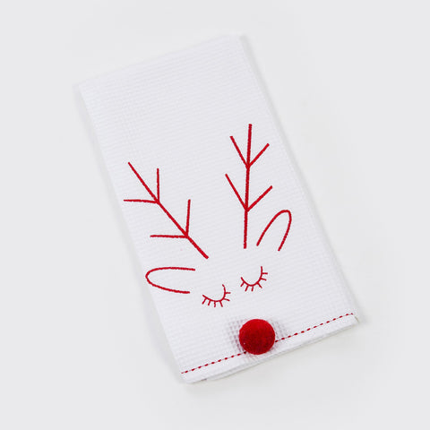 White Rudolph Tea Towel