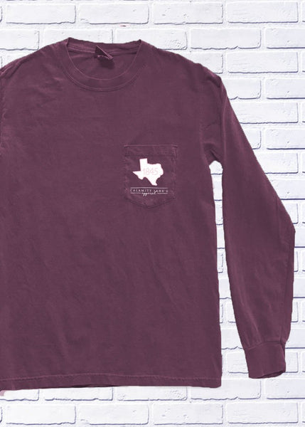 TEXAS Painted Check & Stripes LS T-shirt