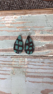 Turquoise and Cocoa Croc. Earrings